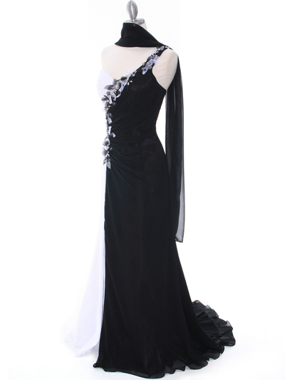 1624 Black/White One Shoulder Floral Evening Dress - Black White, Alt View Medium