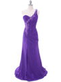 1624  Purple One Shoulder Floral Evening Dress - Front Image