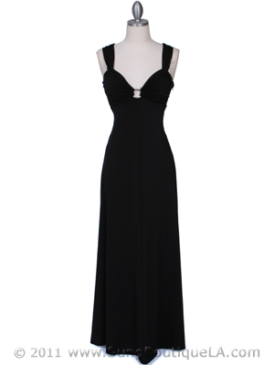 1633 Black Evening Dress with Rhinestone Buckle, Black