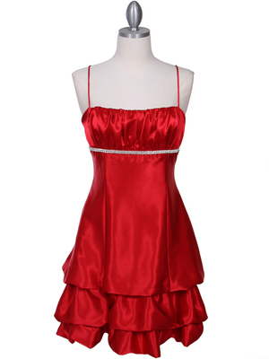 1639 Red Charmeuse Cocktail Dress, Red