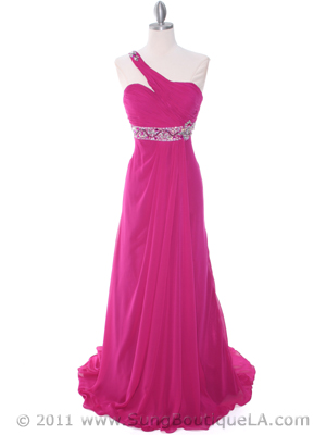 1641 Raspberry One Shoulder Evening Dress, Raspberry