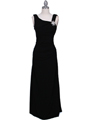 1643 Black Draped Back Evening Dress with Rhinestone Pin