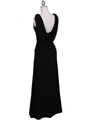 1643 Black Draped Back Evening Dress with Rhinestone Pin - Black, Back View Thumbnail