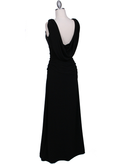 1643 Black Draped Back Evening Dress with Rhinestone Pin - Black, Back View Medium