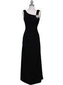 1643 Black Draped Back Evening Dress with Rhinestone Pin, Black