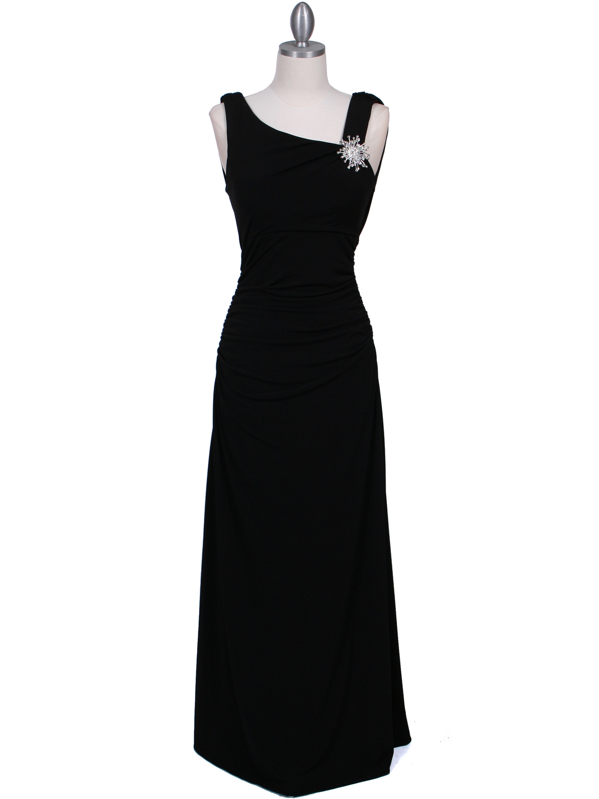 1643 Black Draped Back Evening Dress with Rhinestone Pin - Front Image