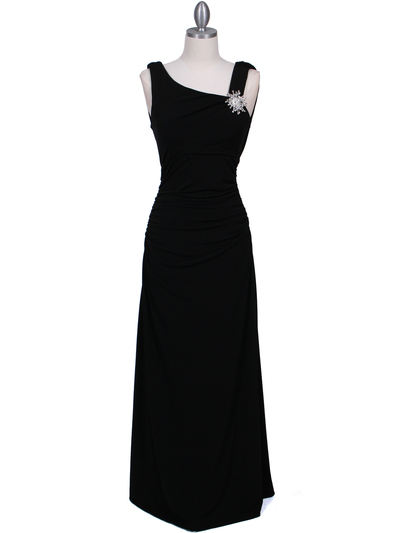 1643 Black Draped Back Evening Dress with Rhinestone Pin - Black, Front View Medium