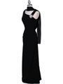 1643 Black Draped Back Evening Dress with Rhinestone Pin - Black, Alt View Thumbnail