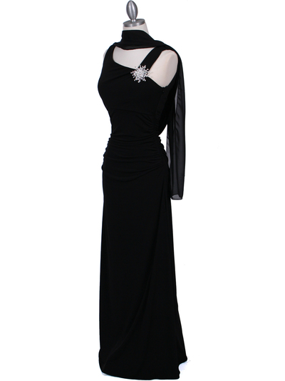 1643 Black Draped Back Evening Dress with Rhinestone Pin - Black, Alt View Medium