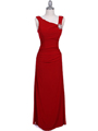 1643 Red Draped Back Evening Dress with Rhinestone Pin - Red, Front View Thumbnail