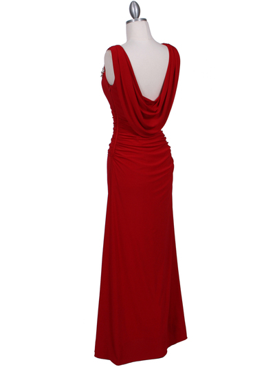 1643 Red Draped Back Evening Dress with Rhinestone Pin - Red, Back View Medium