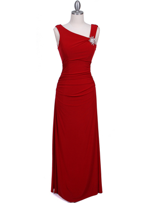 1643 Red Draped Back Evening Dress with Rhinestone Pin, Red