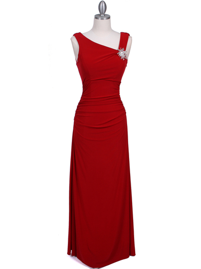 1643 Red Draped Back Evening Dress with Rhinestone Pin - Red, Front View Medium