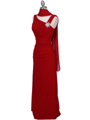 Red Draped Back Evening Dress with Rhinestone Pin - Alt Image