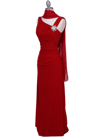 1643 Red Draped Back Evening Dress with Rhinestone Pin - Red, Alt View Medium