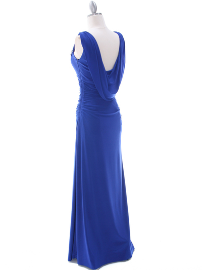 1643 Royal Blue Draped Back Evening Dress with Rhinestone Pin - Royal Blue, Back View Medium