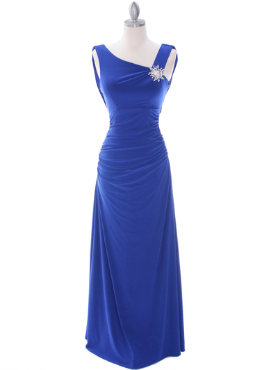 1643 Royal Blue Draped Back Evening Dress with Rhinestone Pin - Royal Blue, Front View Medium