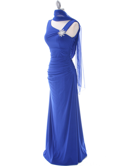 1643 Royal Blue Draped Back Evening Dress with Rhinestone Pin - Royal Blue, Alt View Medium