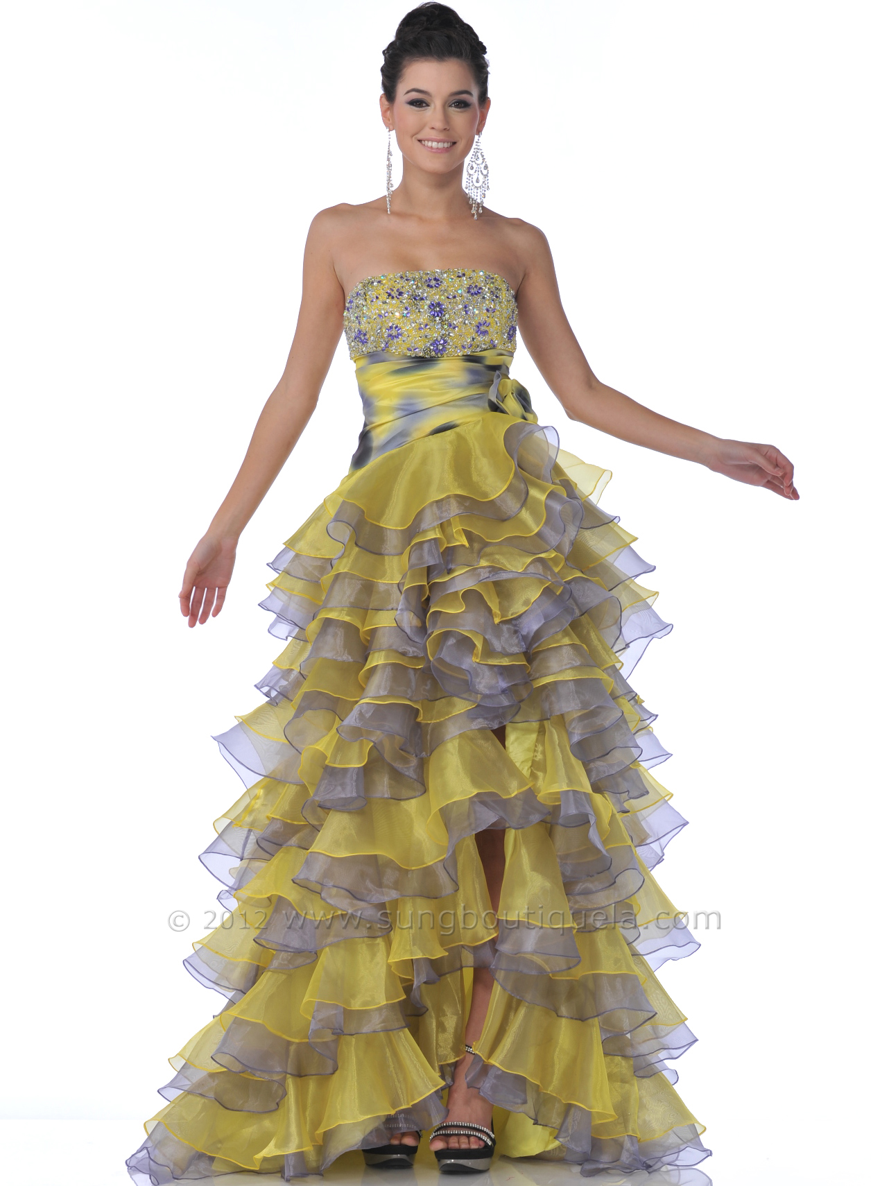 Strapless High Low Ruffle Tiered Prom Dress Sung