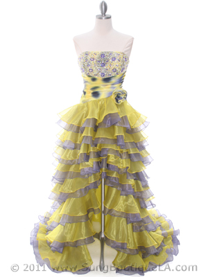 1645 Yellow/Purple Strapless Evening Dress, Yellow Purple