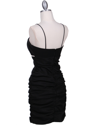 1646 Black  Stretch Taffeta Pleated Cocktail Dress - Black, Back View Medium