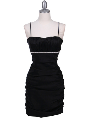 1646 Black  Stretch Taffeta Pleated Cocktail Dress, Black