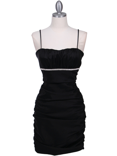 1646 Black  Stretch Taffeta Pleated Cocktail Dress - Black, Front View Medium