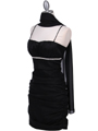 1646 Black  Stretch Taffeta Pleated Cocktail Dress - Black, Alt View Thumbnail