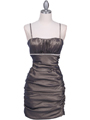1646 Bronze Stretch Taffeta Pleated Cocktail Dress - Bronze, Front View Thumbnail