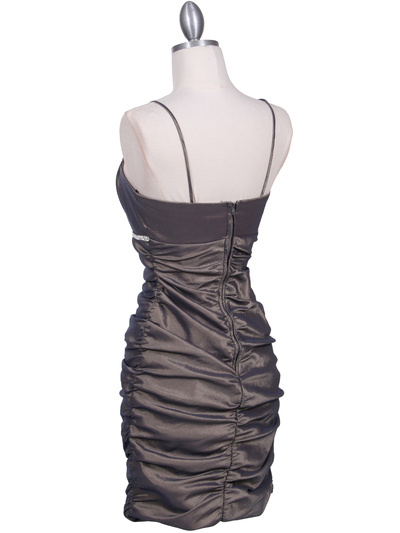 1646 Bronze Stretch Taffeta Pleated Cocktail Dress - Bronze, Back View Medium