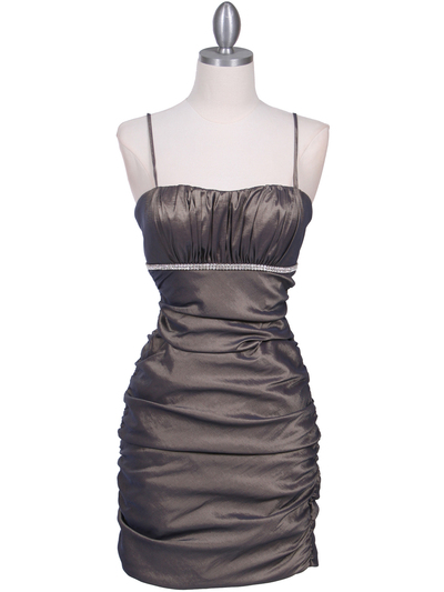 1646 Bronze Stretch Taffeta Pleated Cocktail Dress - Bronze, Front View Medium
