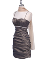 1646 Bronze Stretch Taffeta Pleated Cocktail Dress - Bronze, Alt View Thumbnail