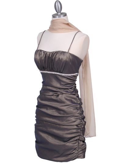 1646 Bronze Stretch Taffeta Pleated Cocktail Dress - Bronze, Alt View Medium