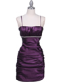 1646 Purple Stretch Taffeta Pleated Cocktail Dress - Purple, Front View Thumbnail