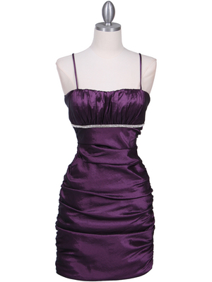 1646 Purple Stretch Taffeta Pleated Cocktail Dress, Purple