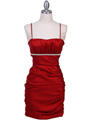 1646 Red Stretch Taffeta Pleated Cocktail Dress - Red, Front View Thumbnail