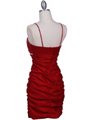 1646 Red Stretch Taffeta Pleated Cocktail Dress - Red, Back View Thumbnail