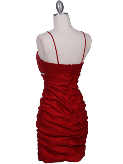 1646 Red Stretch Taffeta Pleated Cocktail Dress - Red, Back View Medium