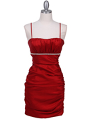 1646 Red Stretch Taffeta Pleated Cocktail Dress, Red