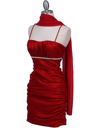 1646 Red Stretch Taffeta Pleated Cocktail Dress - Red, Alt View Medium