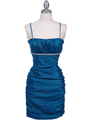 1646 Teal Stretch Taffeta Pleated Cocktail Dress - Teal, Front View Thumbnail