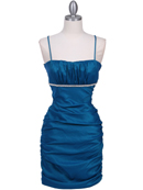 Teal Stretch Taffeta Pleated Cocktail Dress