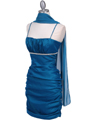 1646 Teal Stretch Taffeta Pleated Cocktail Dress - Teal, Alt View Thumbnail
