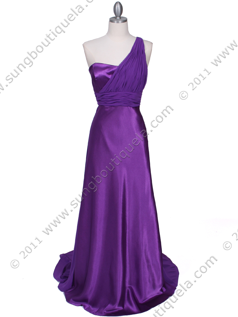 Purple One Shoulder Evening Dress Sung Boutique L A