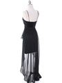 1688 Black Chiffon High Low Evening Dress - Black, Back View Thumbnail
