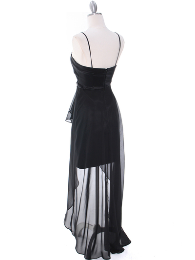 1688 Black Chiffon High Low Evening Dress - Black, Back View Medium