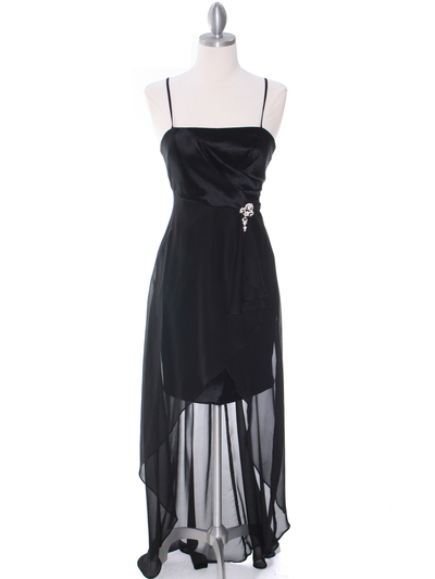 1688 Black Chiffon High Low Evening Dress - Black, Front View Medium