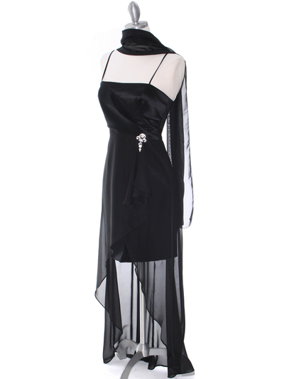1688 Black Chiffon High Low Evening Dress - Black, Alt View Medium
