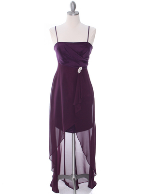 Purple Chiffon High Low Evening Dress - Front Image