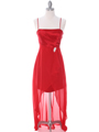 1688 Red Chiffon High Low Evening Dress